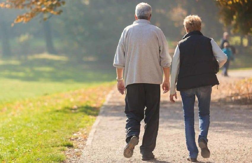 Older people walking in the park
