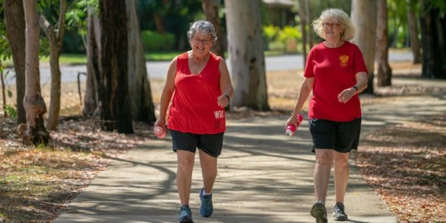 Two women walking together