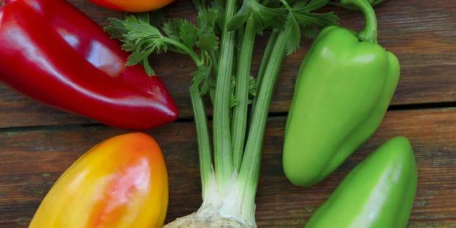 Fresh vegetables for preparing tasty food on wood