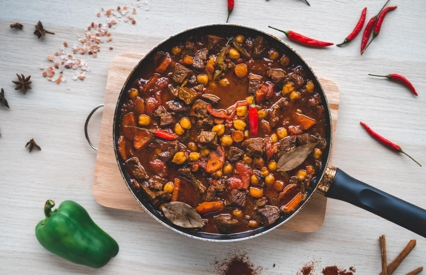 Pan of meat and vegetable stew