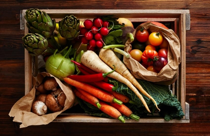 A crate full of winter vegetables including carrots, tomatoes, artichokes, mushrooms and radishes