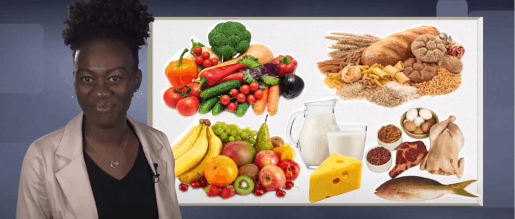 Dietitian presenting a range of healthy foods