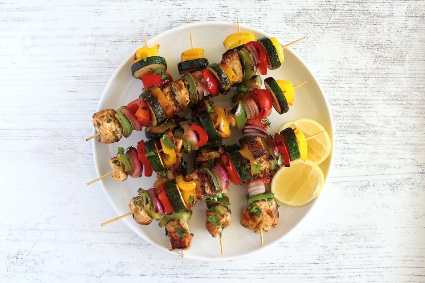 Spanish Chicken and Vegetable Skewers