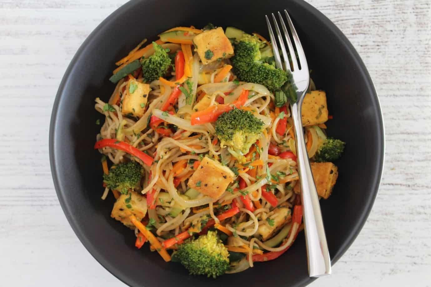 Tofu, Noodle and Vegetable Stir Fry