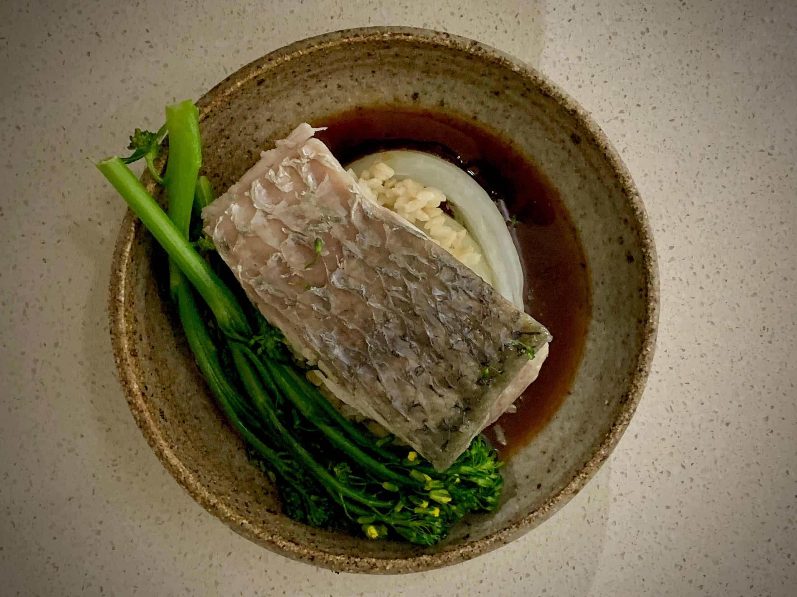 Steamed Barramundi, Broccolini and Wombok with Brown Rice and Oyster Sauce